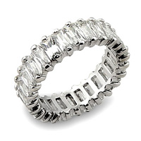 Solid Sterling Silver Eternity band breathtaking diamond CZ cut