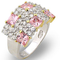 pink, clear cz sterling silver $75