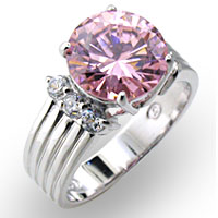 Sterling Silver and rose CZ, high polish $65