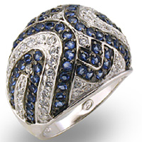 sapphire & CZ pave Sterling Silver $100