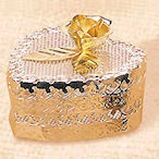 GHeart shaped box, Silver & Gold mesh plated