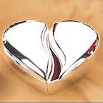 Silver Plated Split Heart Ring Box