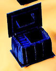 Blue velvet jewelry hinge top box