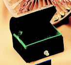 Small Green velvet silver top jewelry box