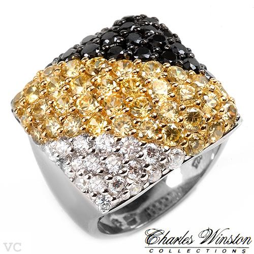 Charles Winston 3 tone beautiful 6ctw in black, gold and clear CZ set in solid sterling silver