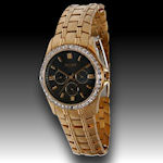 Elgin Austrian crystals with 4 diamonds gold plated $75
