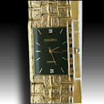 Mens Elgin gold tone elegant watch  two diamond gold plated black dial $45