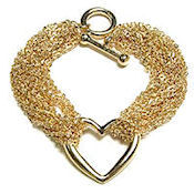 Tiffany inspired Gold  heart 25x25mm, high polish multi chain with toggle closure 8inL