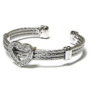 Designer White Gold plated cable cz heart cuff bangle