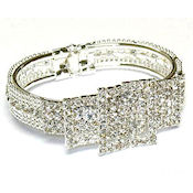 SILVER AND CLEAR RHINESTONE FOLD OVER BANGLE BELT STYLE WOW