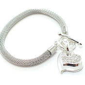 Silver toggle 2pc hearts with silver mesh band