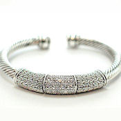 Elegance at an affordable price Designer White Gold cable bangle with AB crystals