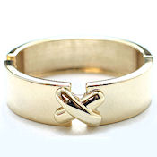 7251 $18  Gold plated X, high polished hinged metal