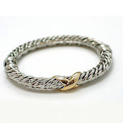 7253 $18 Designer a whats his name... two tone  white and yellow gold, a heavy  bangle