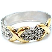 7254 $20 Very  Bold with X marks the spot 1in Wide two tone gold plated- hinged (3)