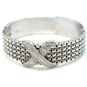 7255 $25 Designer lavish white gold X with crystals 1in w hinged metal bangle (3)