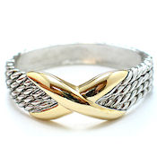 7256 $22 Stunning designer with the BIG X two tone gold  spring hinged 1in wide (2)