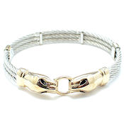 7261  $24 Designer two tone gold 10mmW  Here kitty kitty cable bracelet