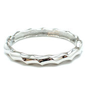 7263 $13 Silver hinged twisted metal bangle (2)