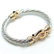 7265 $24 Designer Two tone gold cable hinged with lobster clasp closure (3)