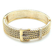 Designer hinged two tone buckle metal bangle