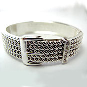 1 inch wide designer buckle in antique silver