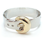 Two tone hinged with clasp buckle style bracelet
