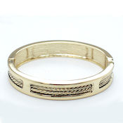 Designer gold cable hinged bangle