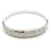 Designer silver clasp bangle with crystals