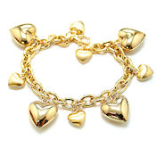 Gold dye casting 20mm 3D hollow heart charm