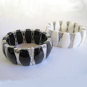 1 inch wide Lucite and crystal stretch bracelet