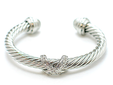 Designer twisted cable cuff Austrian crystal $50