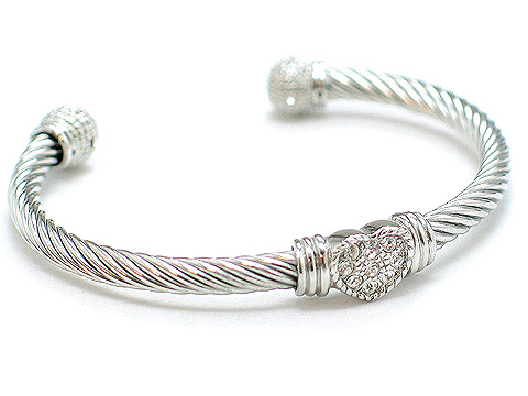 Designer metal bangle heart crystals $40