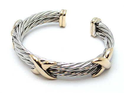 Designer inspired bangle two tone $30