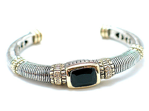 Designer cable bangle with black CZ center stone $50