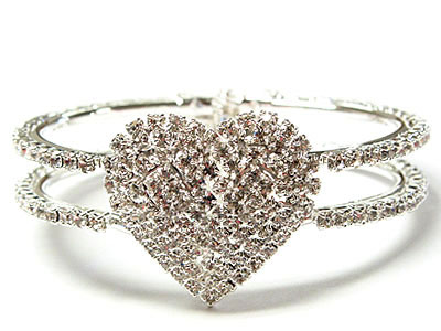 WOW Rhodium and crystal double line  openable heart bracelet