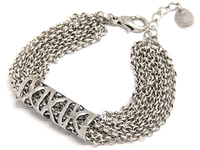 Rhodium designer multi chain link