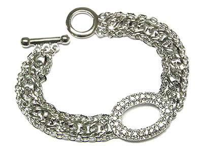 Rhodium and crystal  chain link bracelet