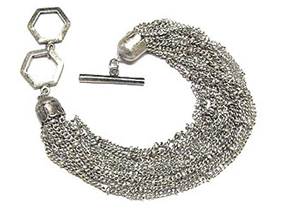 Rhodium multi chain link 7,5in $65