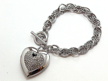 3D heart with the shine of crystals on a metal chain link with a toggle. $60