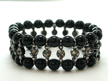 Beautiful in black pearl and crystal stretch bracelet. $55