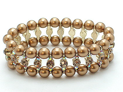 This sensational gold tone  2 row pearl and Austrian crystal is a timeless piece to own. $55