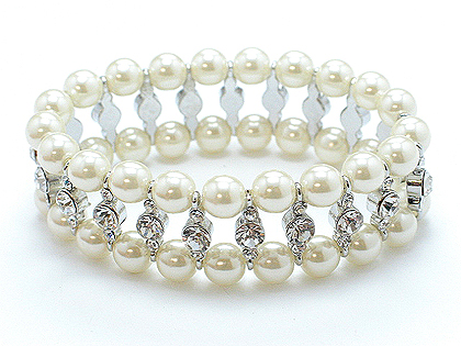 Beautiful pearl and Austrian crystal 2 row bracelet