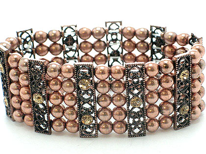 5 row beautiful metal beads and crystals $45