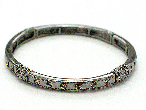 Designer stretch and stackable crystal bangle