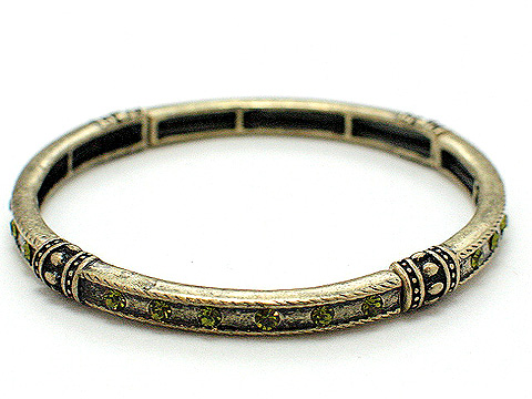 Designer stretch Olivine and crystal stackable