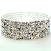 7 Row rhinestone stretch bracelet