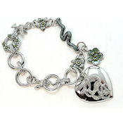 You can wear this 3D heart silver and crystal bracelet Yurman inspired with pride