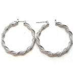 2 inch drop twisted metallic look hoop earring