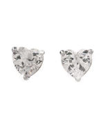 4.45ctw Sterling Silver heart stud earrings